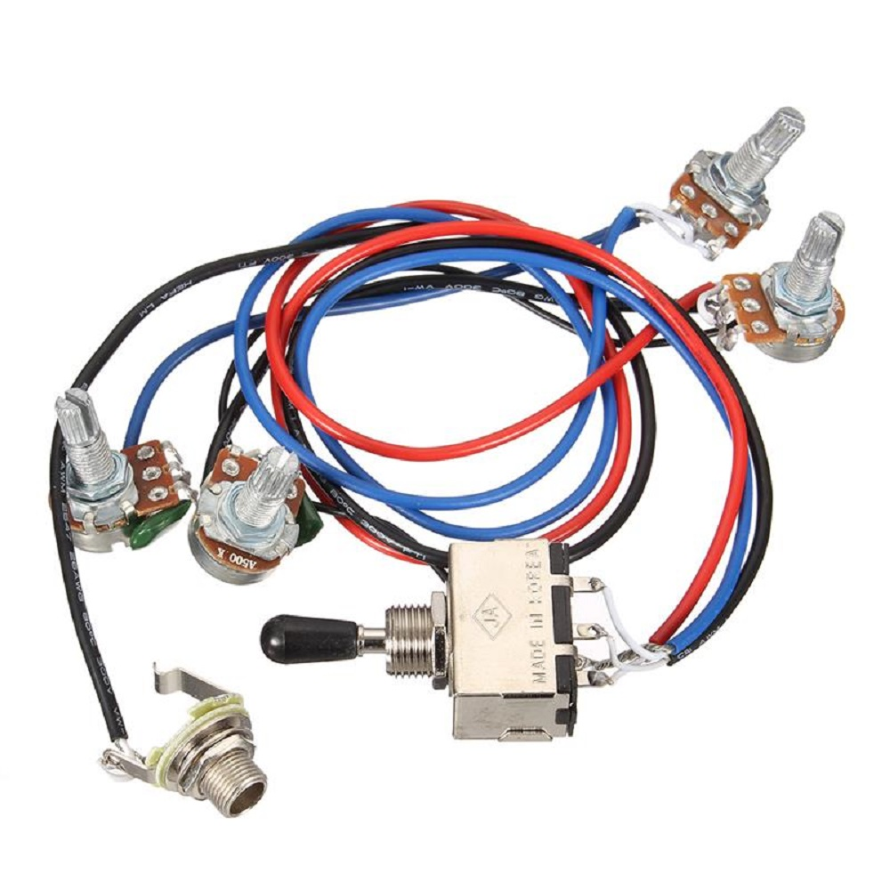 Buy Wiring Harness 2v 2t 3 Way Toggle Switch 500k Pots For Guitar 2 Pickup Two Volume Tones 5 Mini X 4 Volume2 Tonewashers And Screws Included Style Dual Hum Bucker