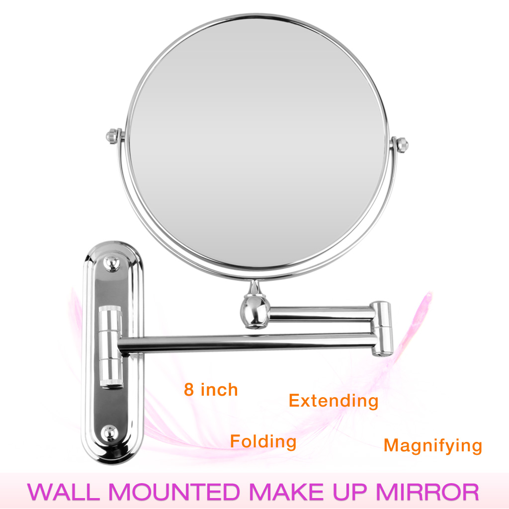 Chrome Wall Mounted Folding Extending Makeup Shaving Magnifying Mirrors Bathroom