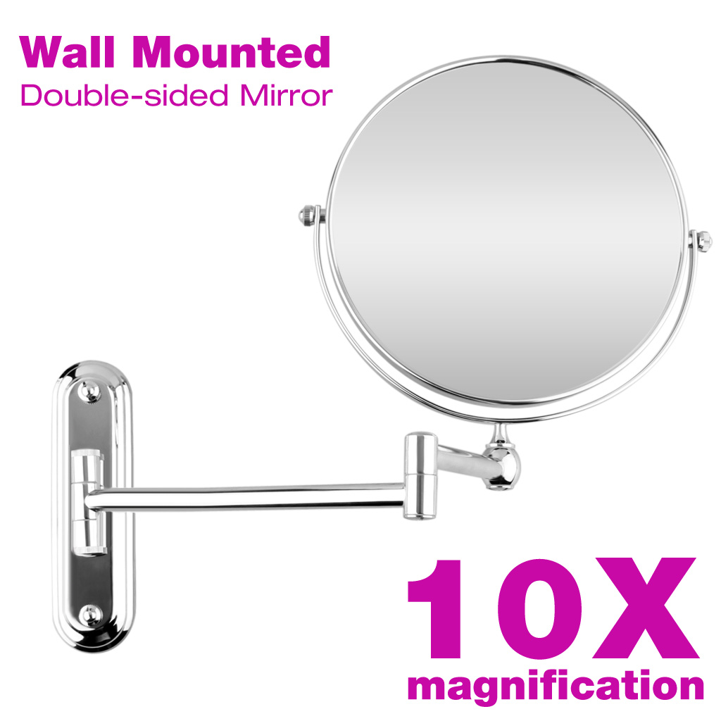 Chrome Wall Mounted Extendable Folding Makeup 10x Magnification Mirror Bathroom 657419635615