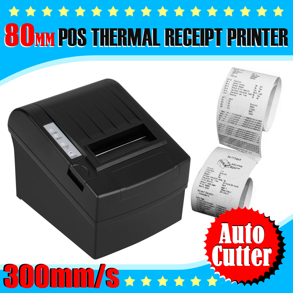 Details about 80mm 300mm/S AUTO-CUT Direct Thermal Dot Receipt Printer  ESC/POS USB +Paper Roll