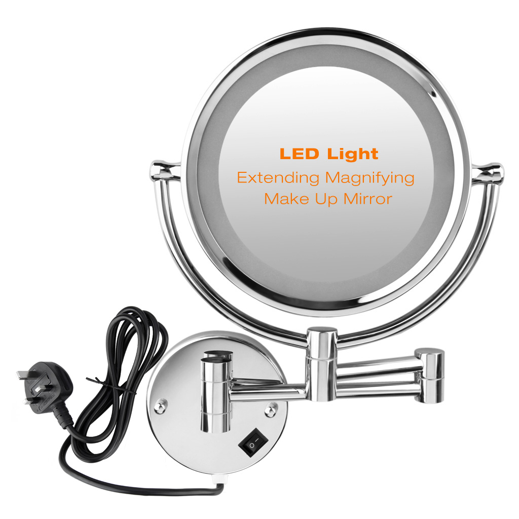 Led Wall Mounted Makeup Mirror 8 5 Inch 7x Magnification Shaving Double Side Uk
