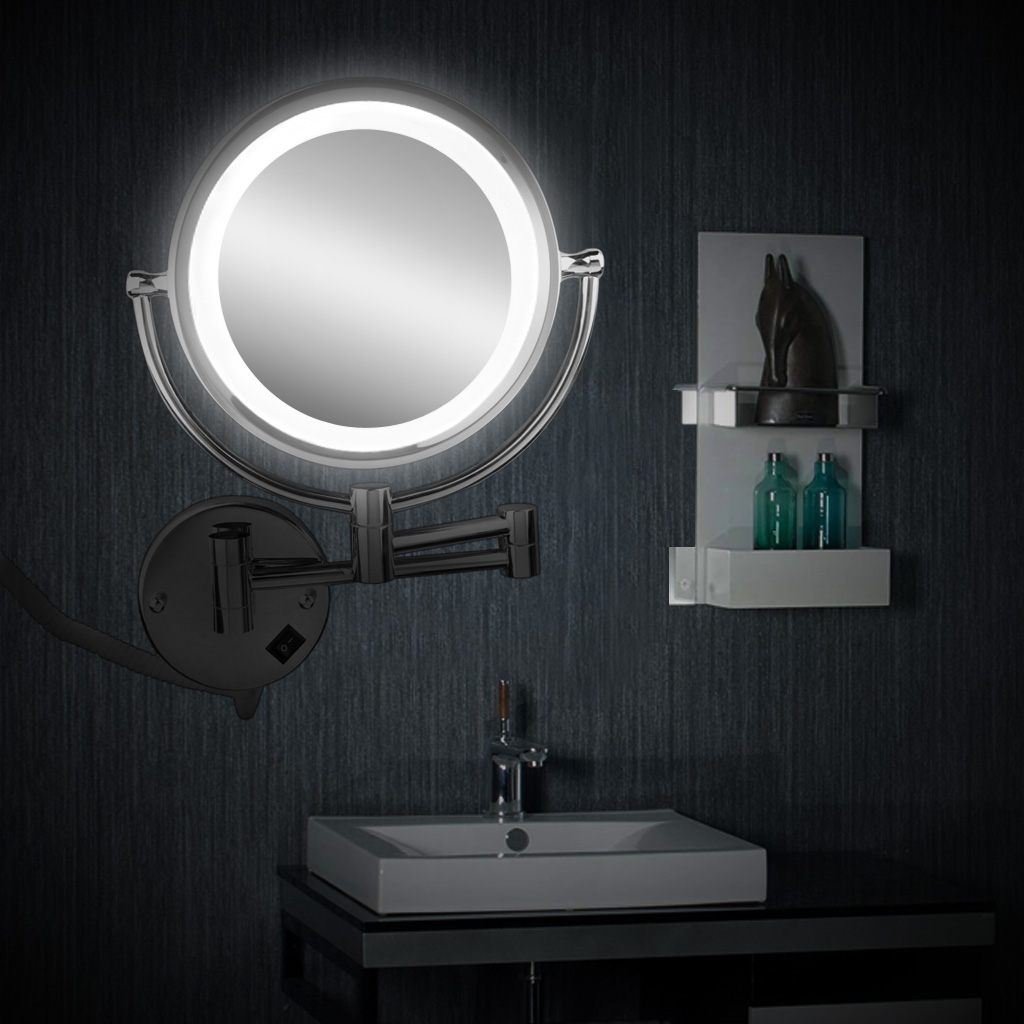7x magnify 85 wall mounted led lighted cosmetic vanity foldable wall mounted 85 inch cosmetic make up shaving led lighted bathroom mirror 7x magnification mozeypictures Images