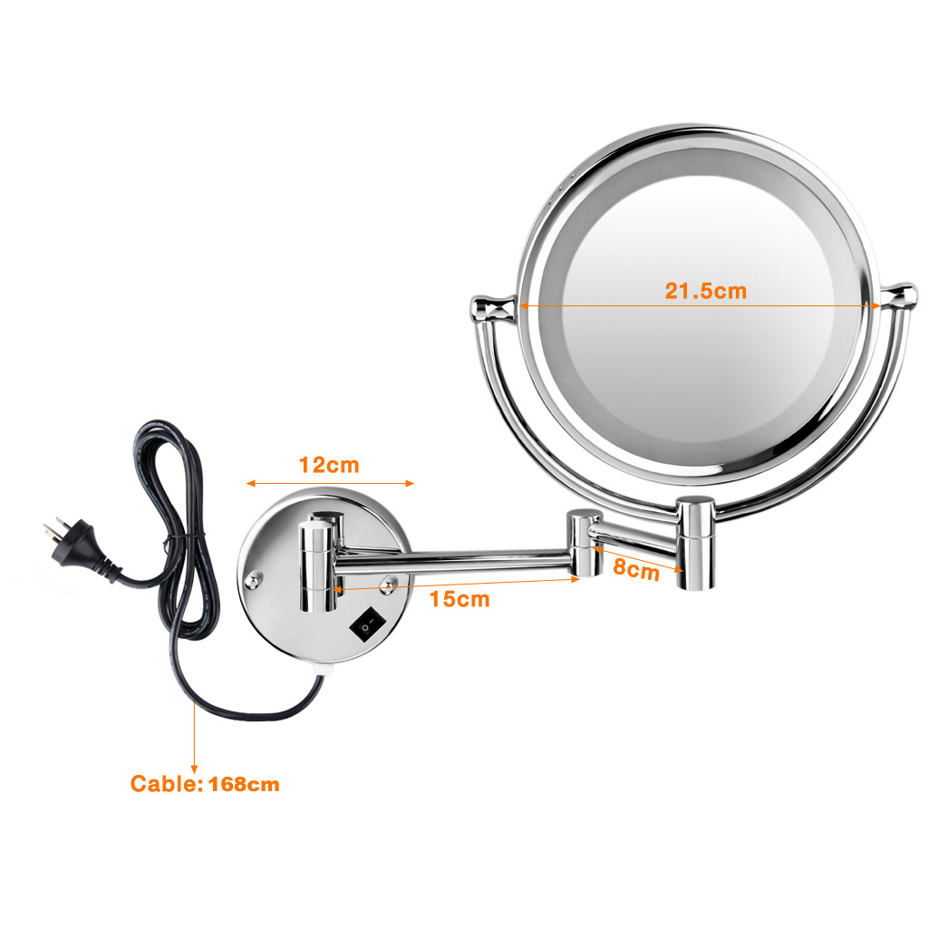 The Wall Mount Led Lighted Mirror Is An Elegant Design Which Has Infinitely Variable Swivel Foldable And Height Adjule Function