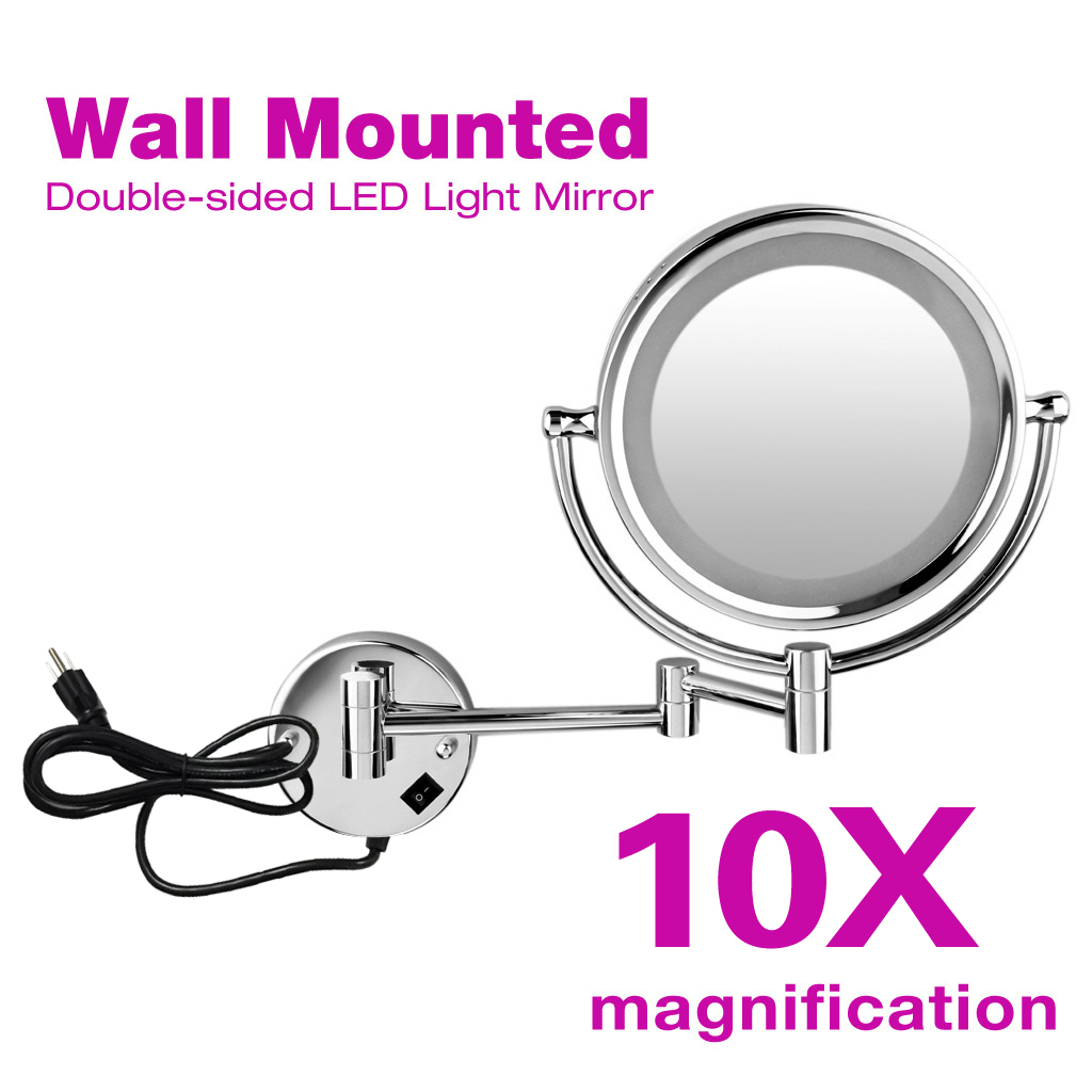 8 5 2side 10x Wall Mounted Led Magnification Mirror Lighted Makeup