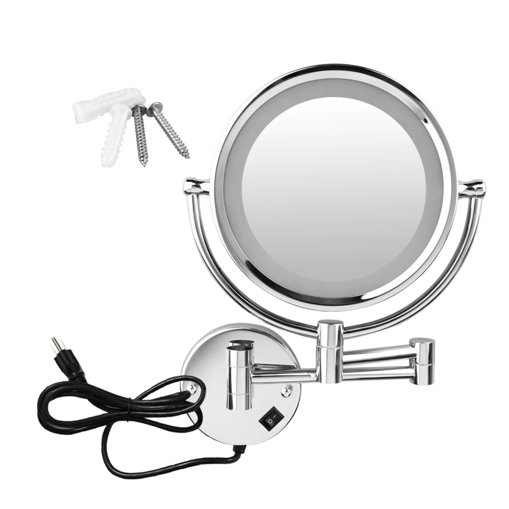8 5 Wall Mounted Dual Side 10x Magnification Led Lighted Makeup Shaving Mirror