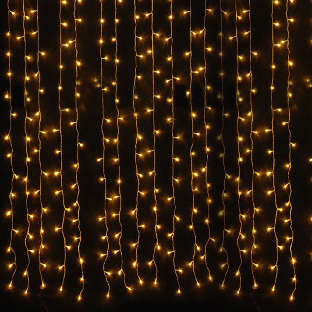 6M X 3M 600 LED Warm White Fairy Curtain Light For Christmas Xmas Wedding Party