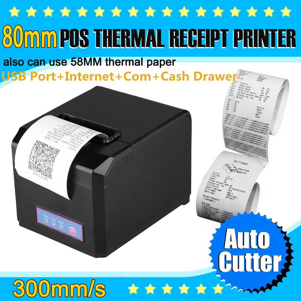 Details about 80mm 300mm/s Thermal Receipt Printer AUTO-CUT USB Ethernet  Ports ESC/POS Drawer