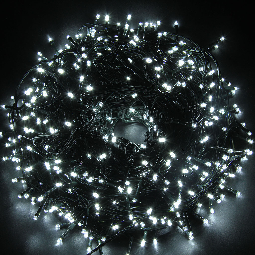 Details About 100m 500 Led Cool White String Fairy Lights Outdoor Garden Christmas Tree Light