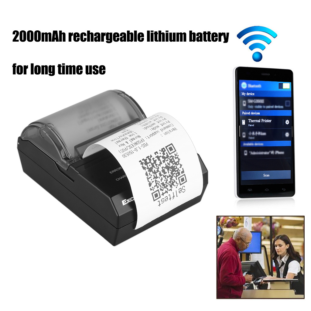 Excelvan Portable Wireless 58mm Bluetooth Thermal Dot Receipt