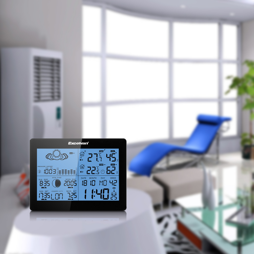 EXCELVAN LCD Wireless Temperature Humidity Weather Station ...