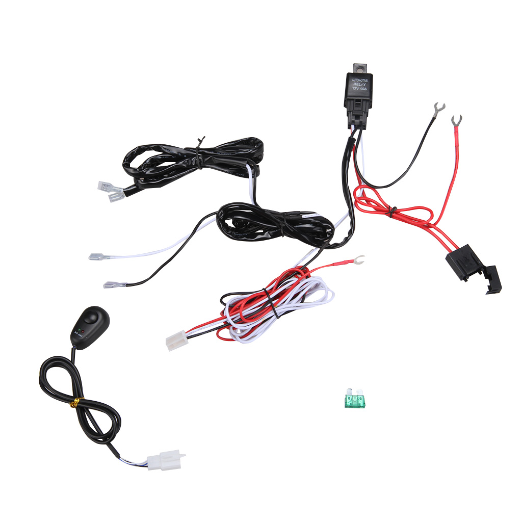 2in1 wiring harness kit loom for led work driving light bar w  fuse relay 12v 40a