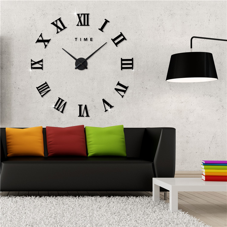 Modern Frameless Wall Clock Style Watches Hours Diy Room Home Decorations Model 3m011 Features Roman Numerals