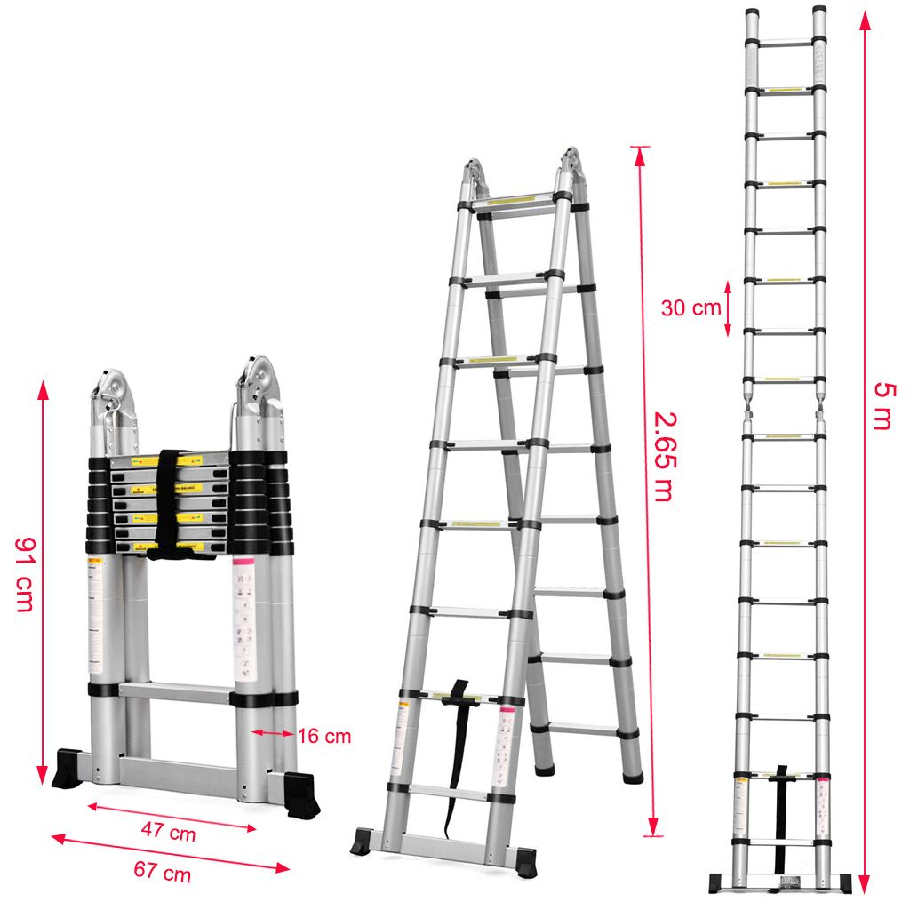 16.4FT Aluminum Multi-Purpose Telescopic Ladder Extension Foldable ...