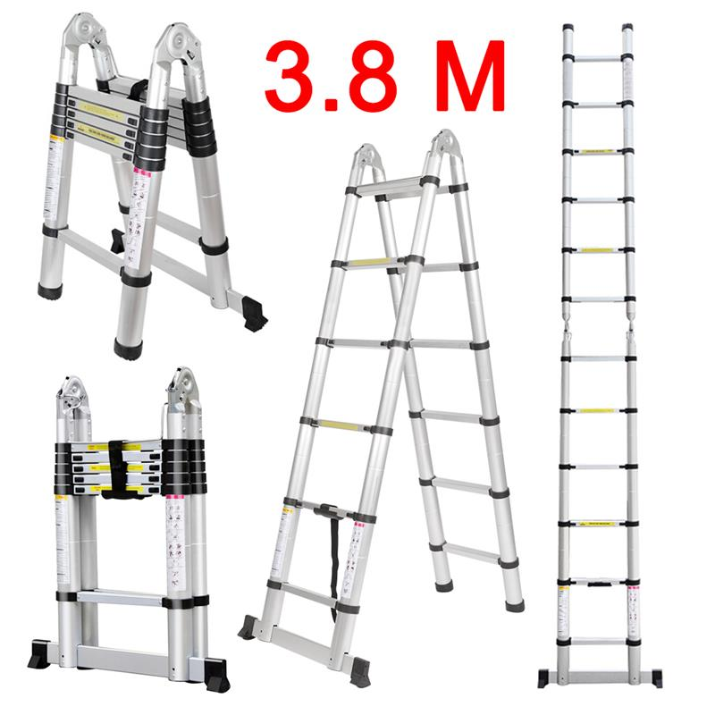 330Lb 3.8M Portable Heavy Duty Aluminum Telescoping A-Frame Ladder ...