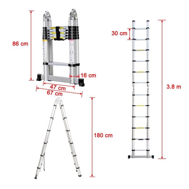 12.5 ft Foldable Aluminum Telescoping Telescopic Extension Ladder ...