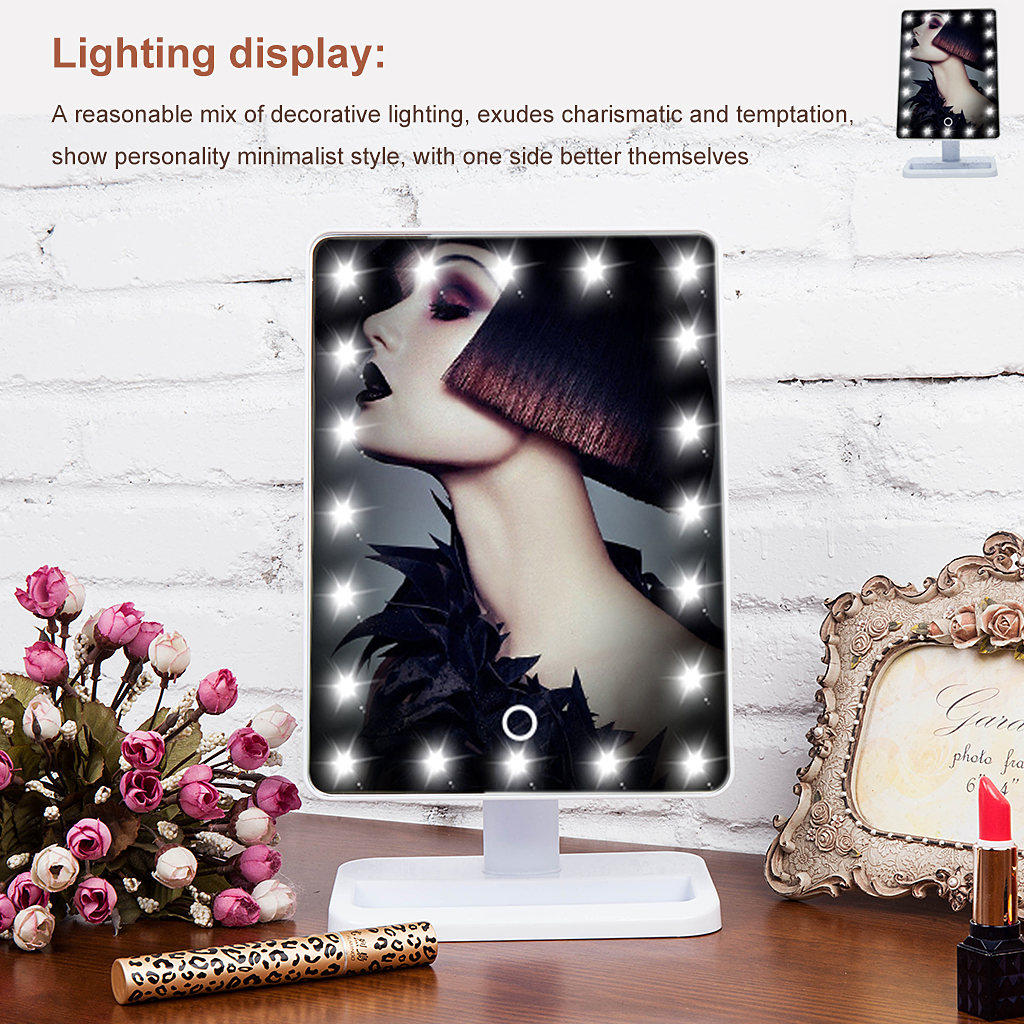 Touch Screen Leds Lighted Makeup Mirror Tabletop Cosmetic Vanity