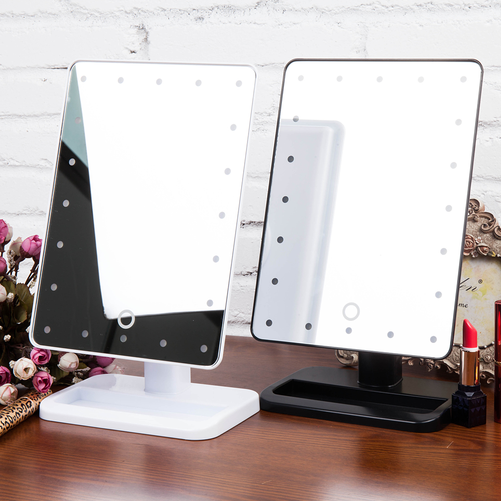 Exceptionnel Touch Screen LEDs Lighted Makeup Mirror Tabletop Lighted Cosmetic Vanity  Mirror