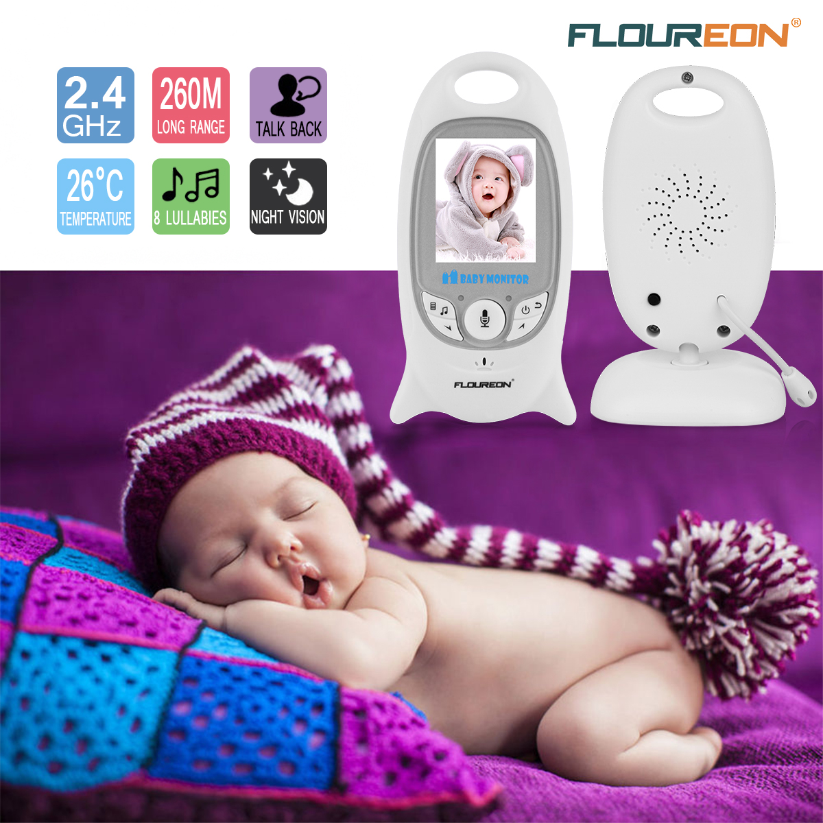 58e88bae08ca Details about FLOUREON VB601 Digital Wireless 2.4 GHz Baby Monitor 2