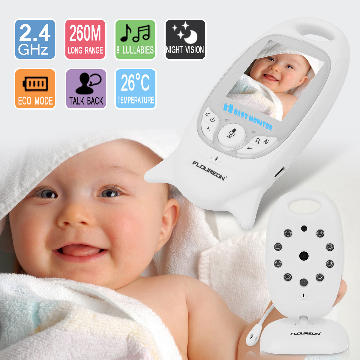 460a2563aac4 1  2.4 GHz Wireless Baby Monitor Receive 1  Wireless Baby Camera 2   Power  adapters(EU plug) 1   User manual