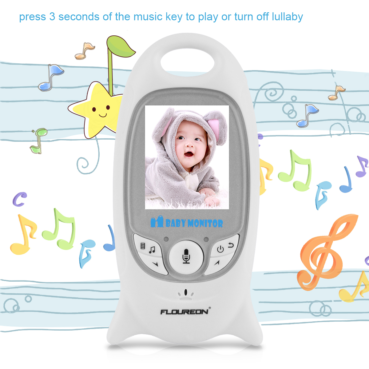 c7ff206d39ea FLOUREON Digital Wireless 2.4 GHz Baby Monitor Infant IR LCD Video Nanny  Security Camera Temperature Display 2 Way Talk Night Vision Lullabies Radio  EU Plug