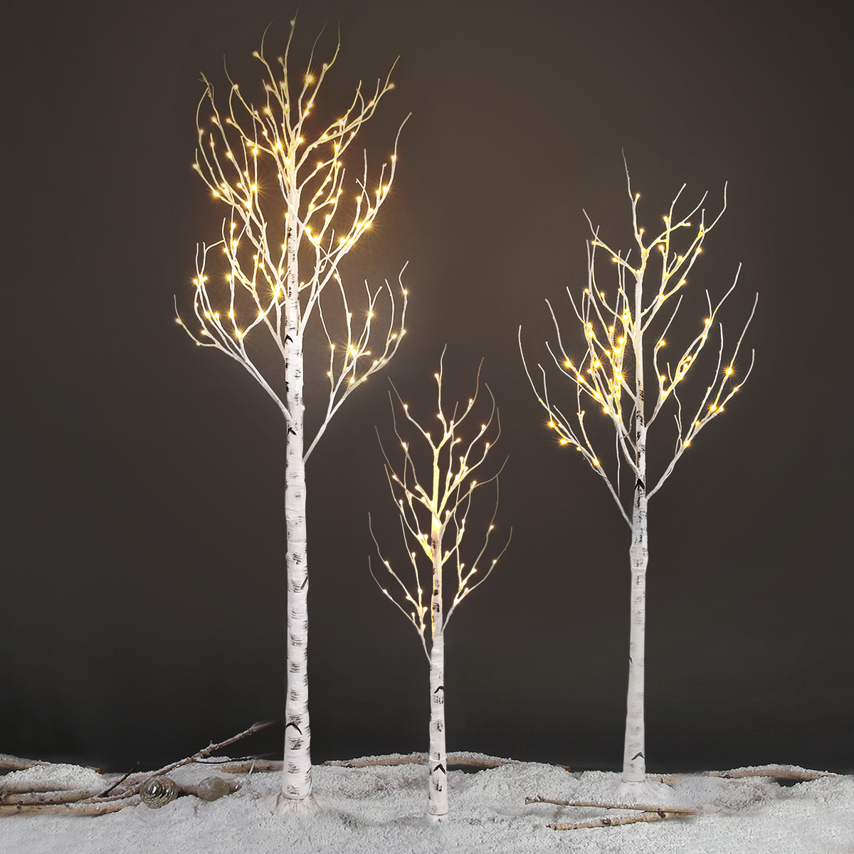 Details About 2 4 5ft Silver Birch Twig Tree Led Warm White Light Branches Xmas Party Us