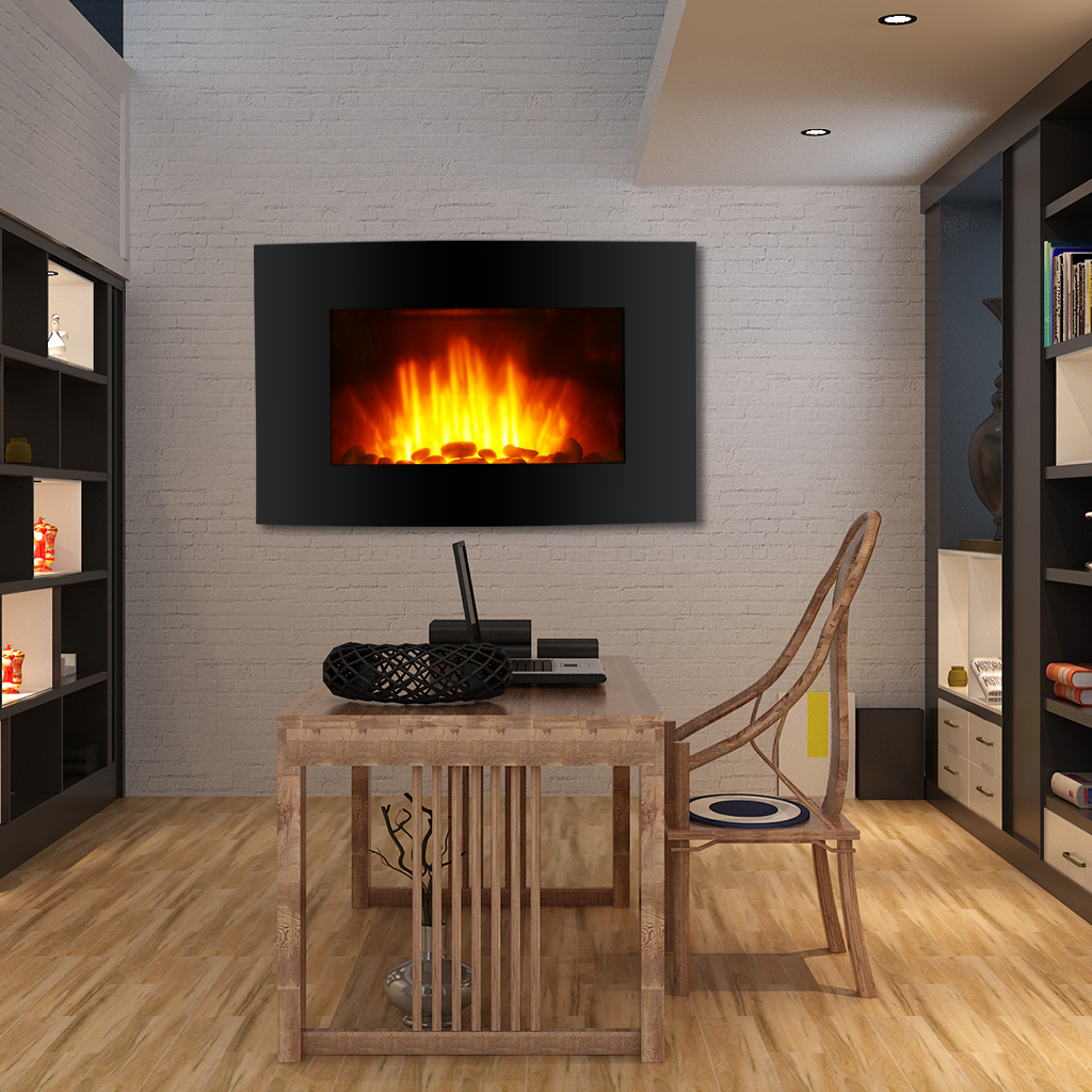 wall mounted electric fireplace heater 3d fire flame remote