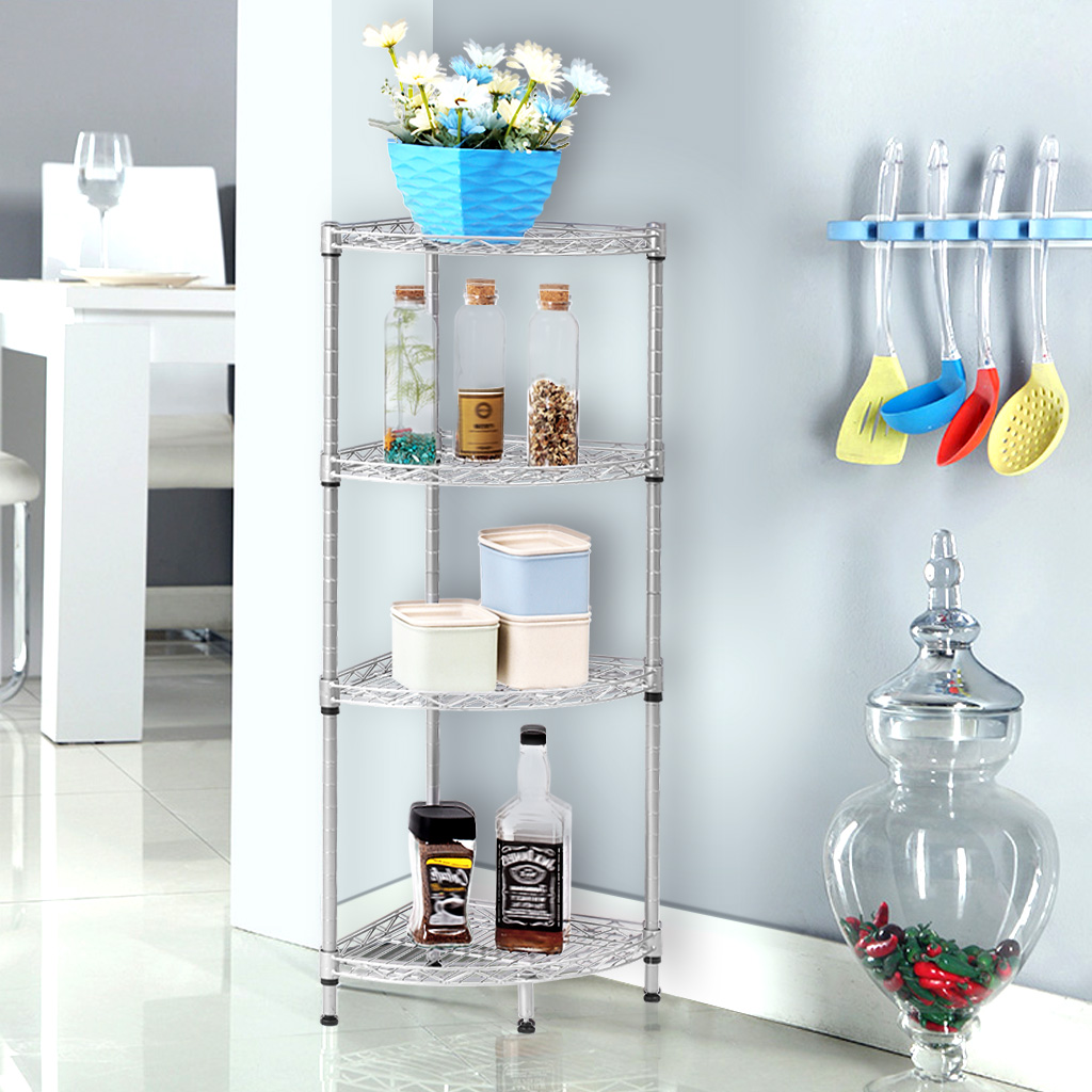 4-Tier Wire Corner Shelving Unit Storage Organization Shelf Rack for ...