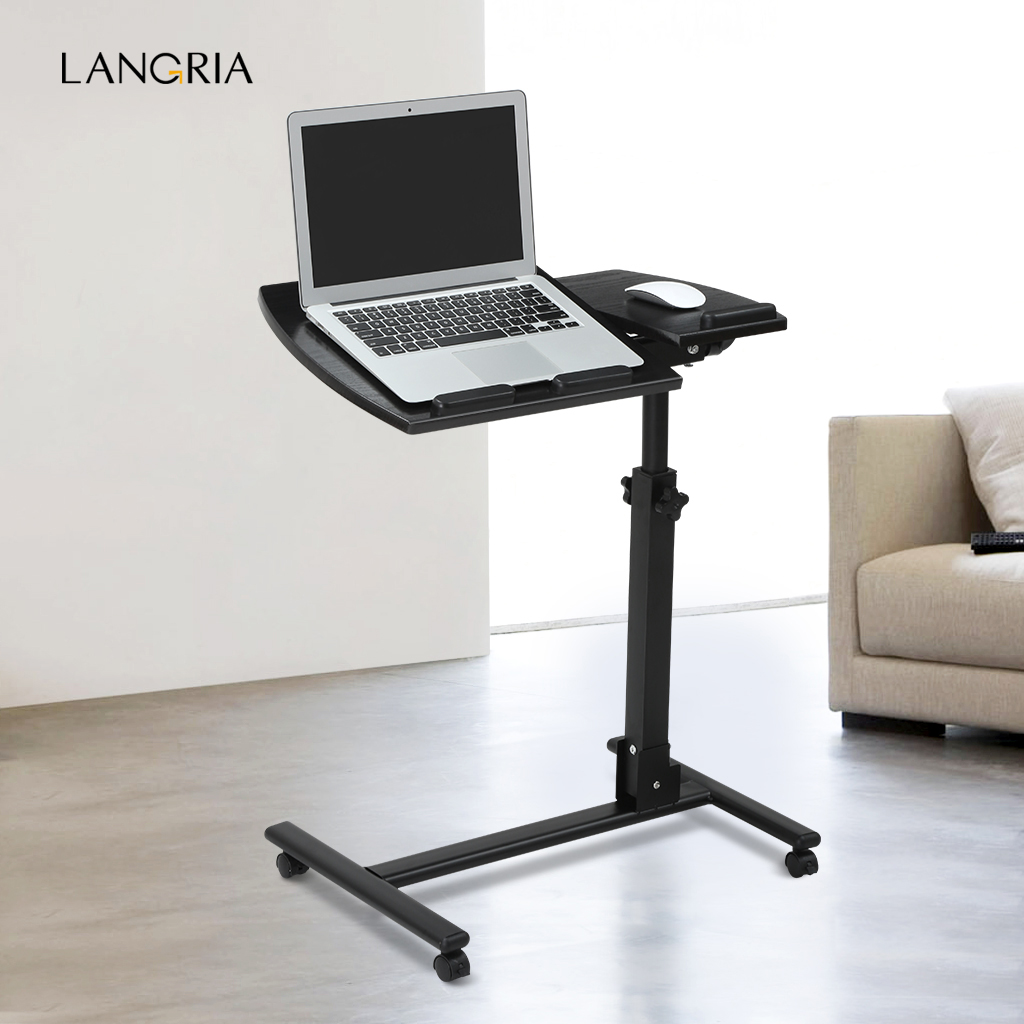 Laptop Cart Langria Portable Rolling Laptop Cart Mobile Desk Notebook With Angle And Height Adjustable Split Top