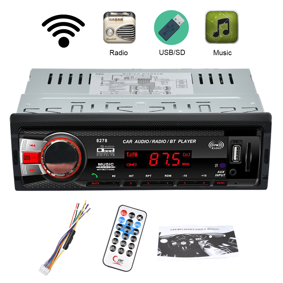 auto radio digital multimedia player 1din mp3 fm aux in sd. Black Bedroom Furniture Sets. Home Design Ideas