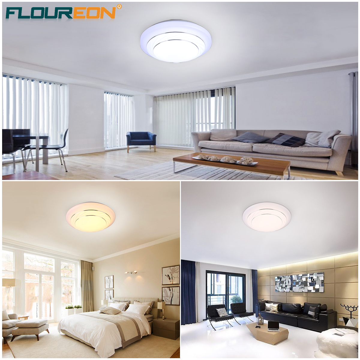 24W Round LED Ceiling Light Flush Mount Fixture for Indoor Home ...