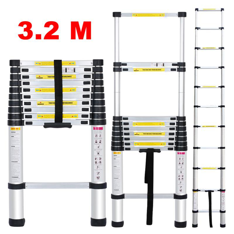 multifonctions pliable chelle t lescopique escabeau aluminium ladder 3 2m 5m fr ebay. Black Bedroom Furniture Sets. Home Design Ideas