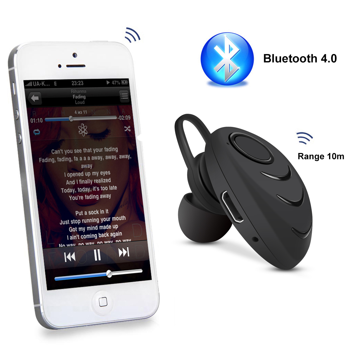 mini bluetooth headset musik kopfh rer stereo kabellos f r. Black Bedroom Furniture Sets. Home Design Ideas