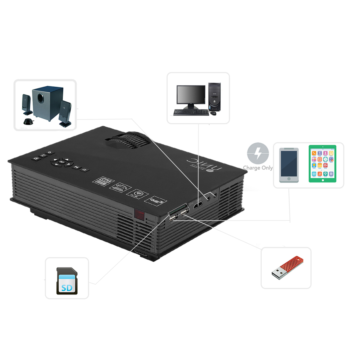 Unic Uc46 Portable Mini Led Wireless Projector Buy Online At Best Proyektor Uc40 Package Contents 1 X Simplified Mirco Remote Power Plug Cable English User Manual
