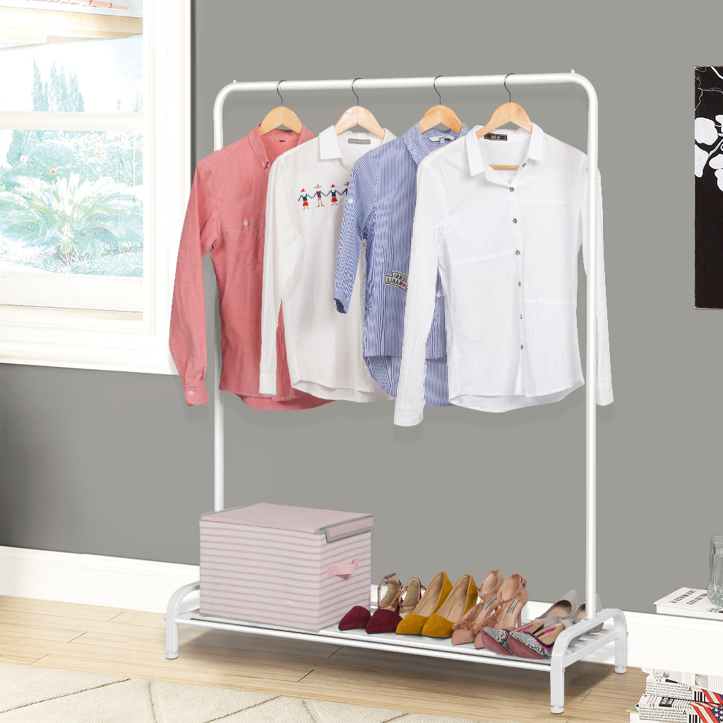 (GARMENT RACK COMMERCIAL WHITE) LANGRIA Simple All Metal Free Standing  Commercial Grade Clothing Garment Rack With Top Rod And Lower Storage Shelf  For Boxes ...