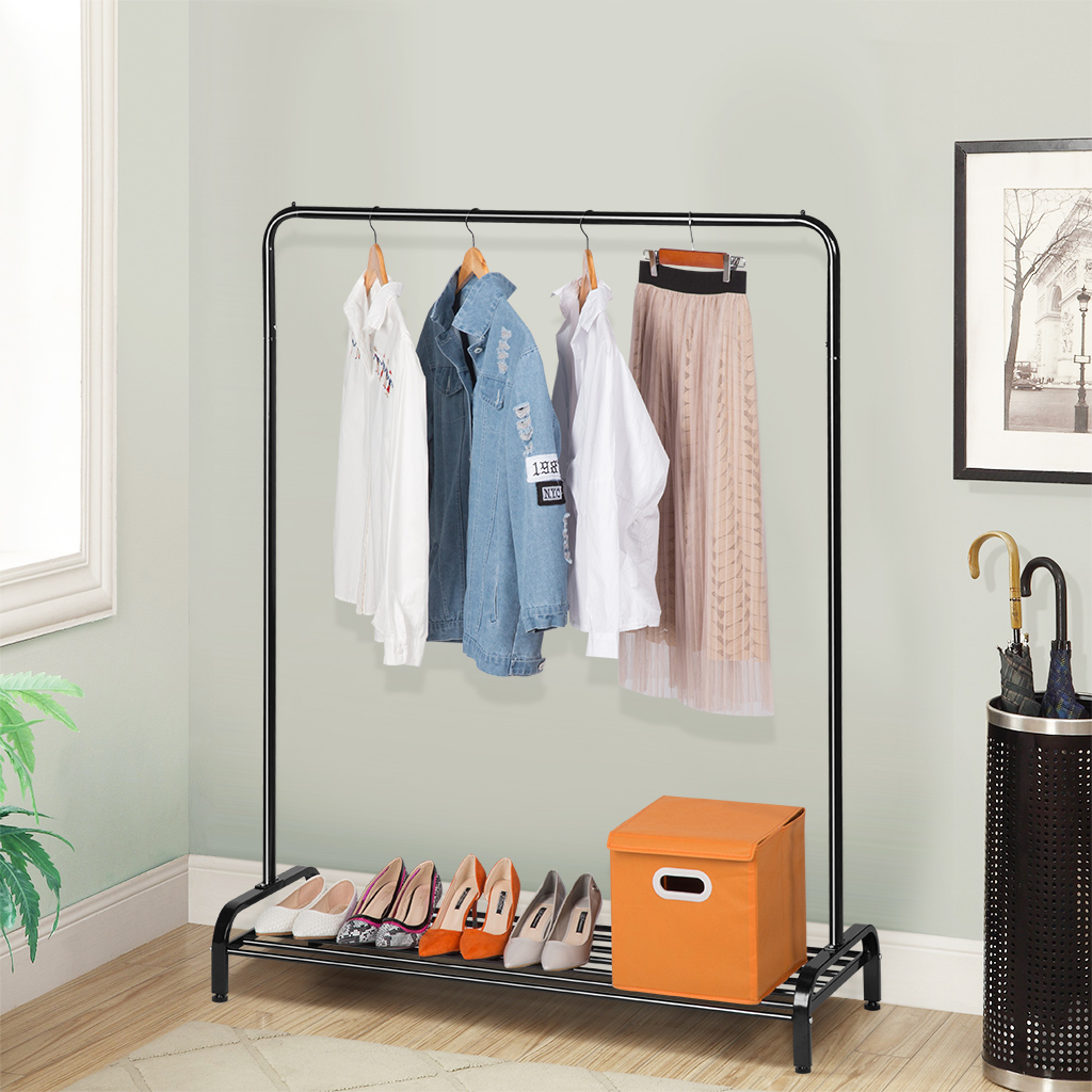 With Top Rod And Lower Storage Shelf For Boxes Shoes Boots 47.2 X 17.7 X 63  Inches, ...