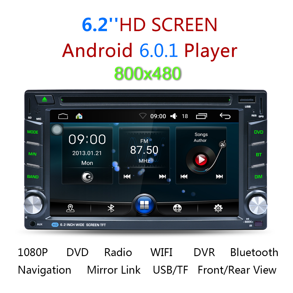 6 2 android 6 0 autoradio mit navigation gps 2din wifi. Black Bedroom Furniture Sets. Home Design Ideas