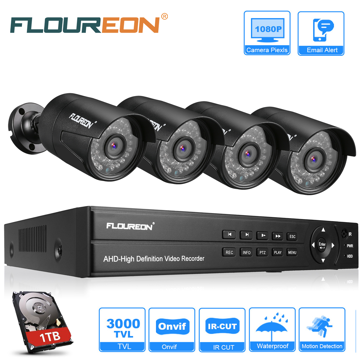 1TB HDD,8CH 1080N AHD DVR 4x Outdoor IR-CUT 3000TVL 1080P Security Camera System