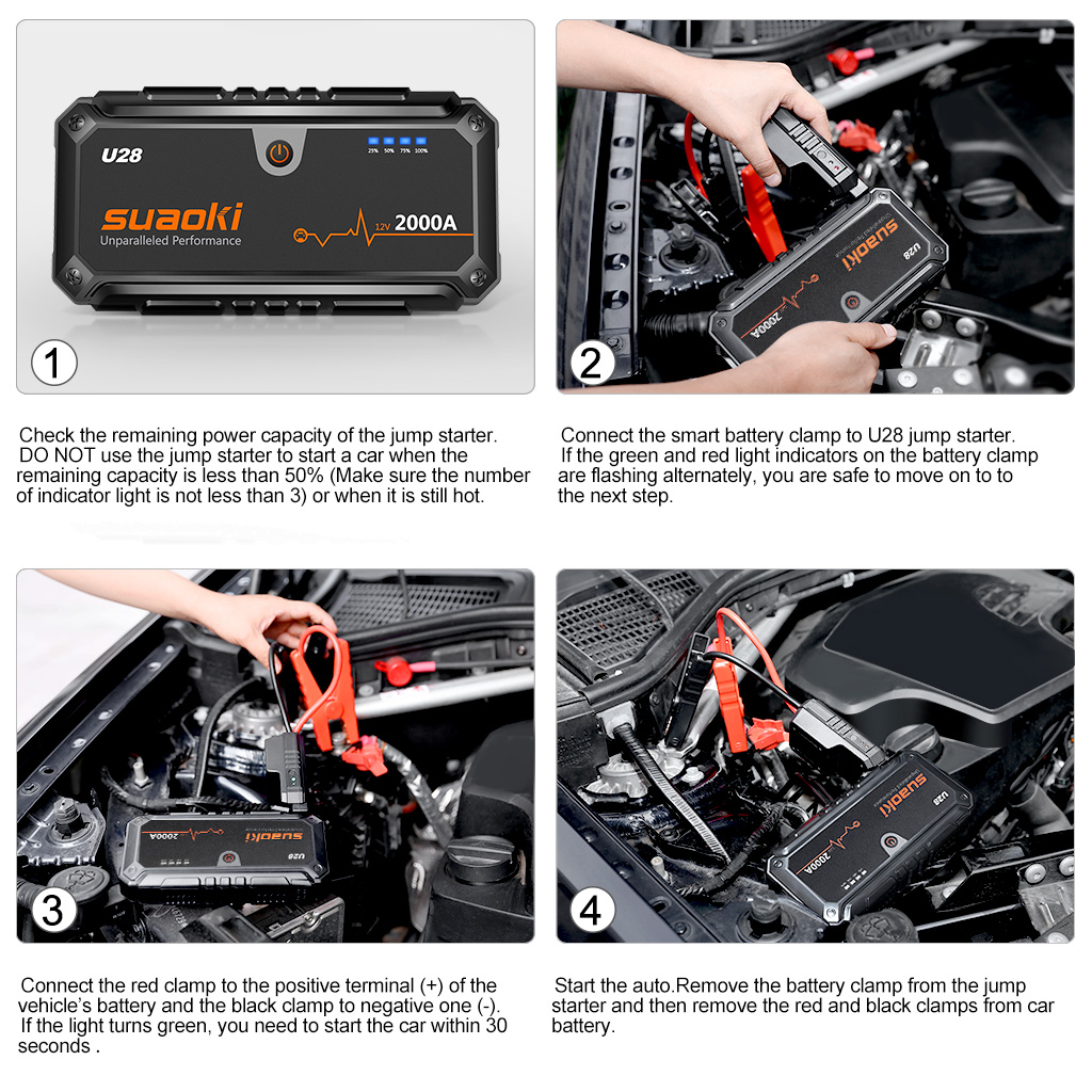 Suaoki 2000a Peak Car Auto Jump Starter Pack Usb Powerbank