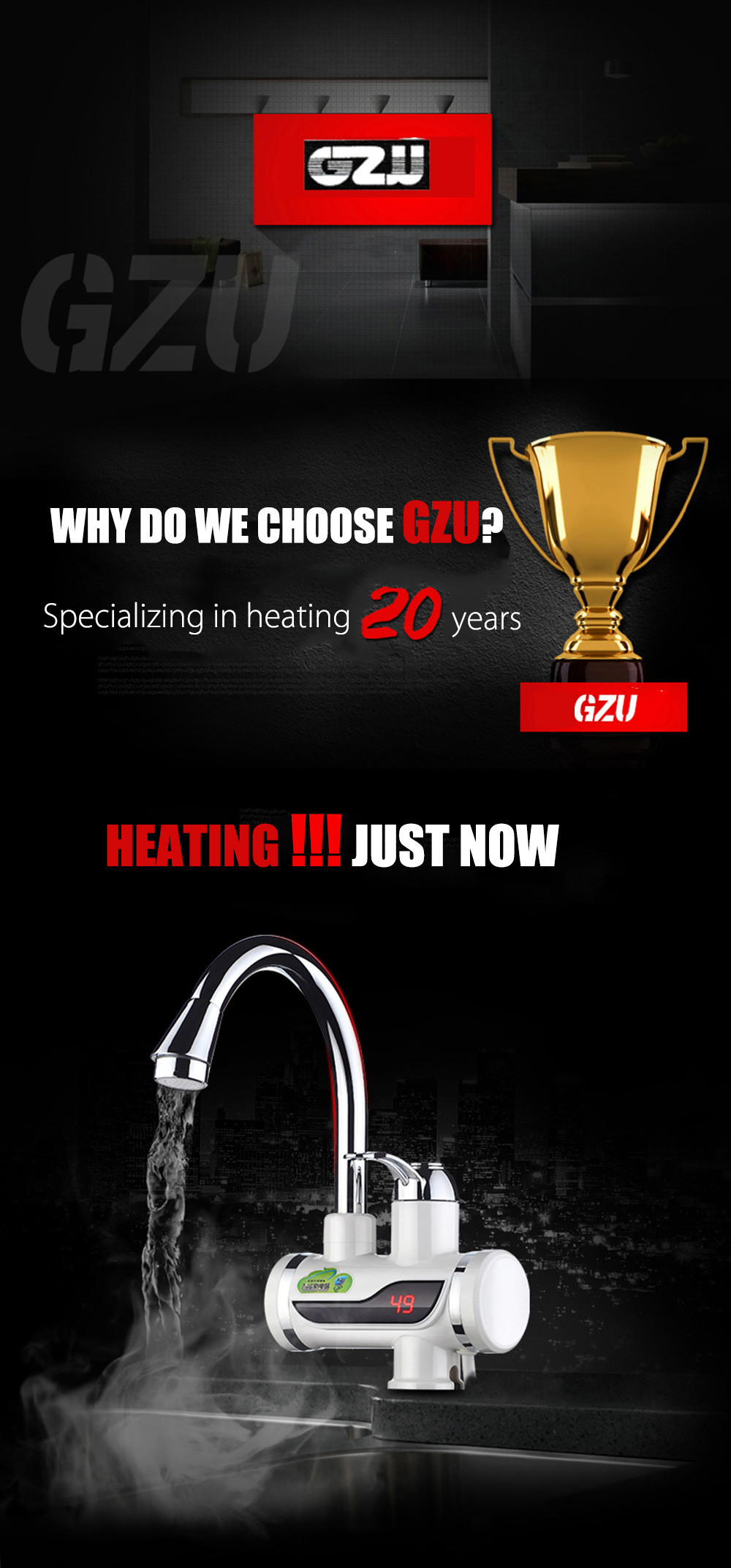 GZU Tankless Electric Hot Water Heater Kitchen Faucet with LED ...