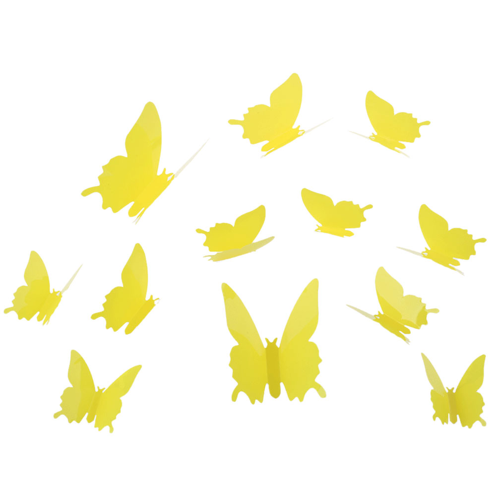Pink/RED 12Pcs DIY 3D Butterfly Wall Stickers Mirror Art Decal for ...