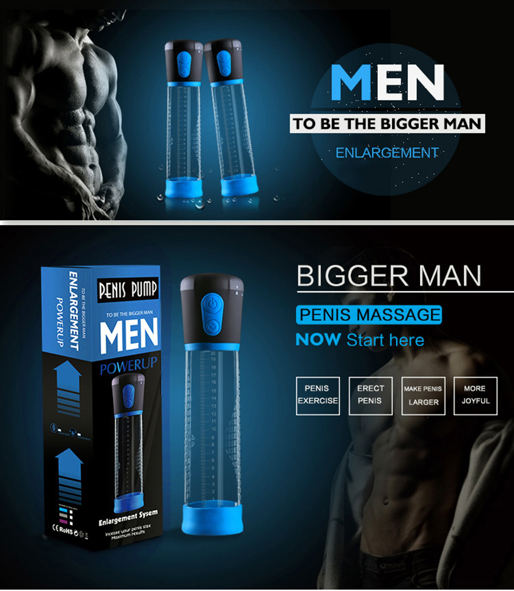 CANWIN Electric Penis Pump Enlargement Exercise Automatic Suction Sex Toy  Adult Product for Men Blue