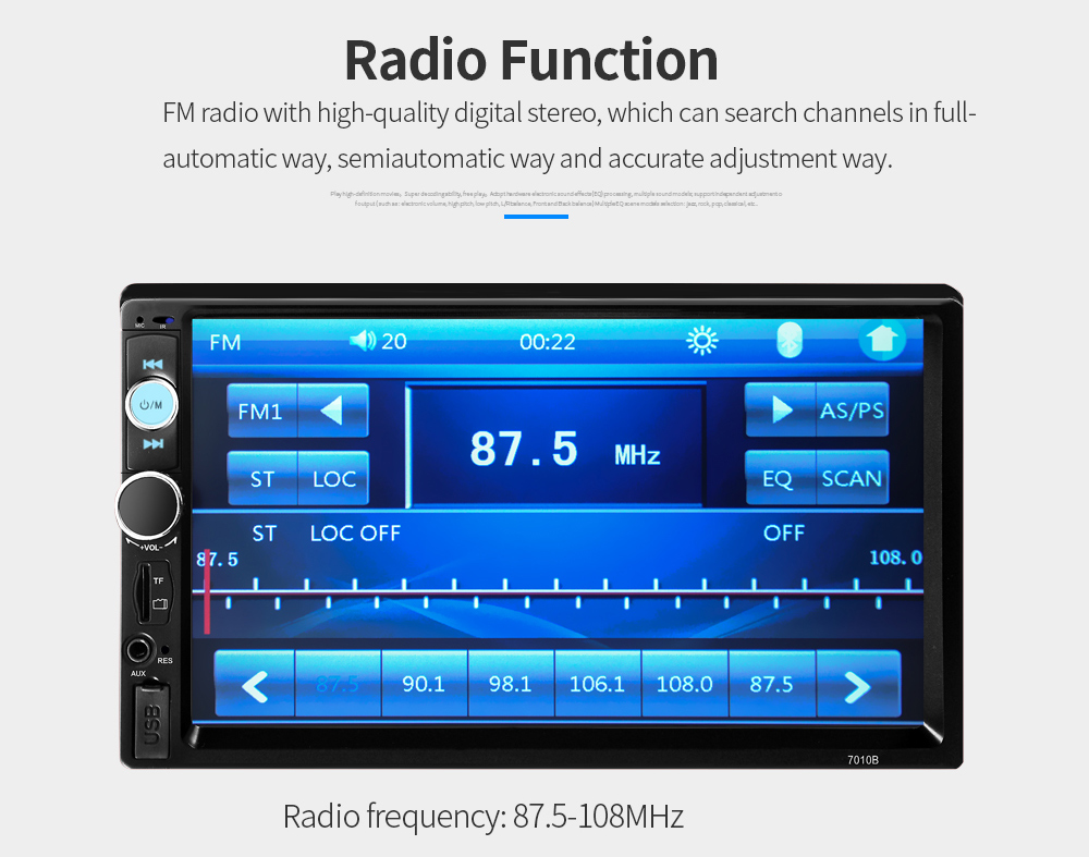 "7010B 7"" HD MP5 Player 2 DIN BT Touch Screen Car Stereo"
