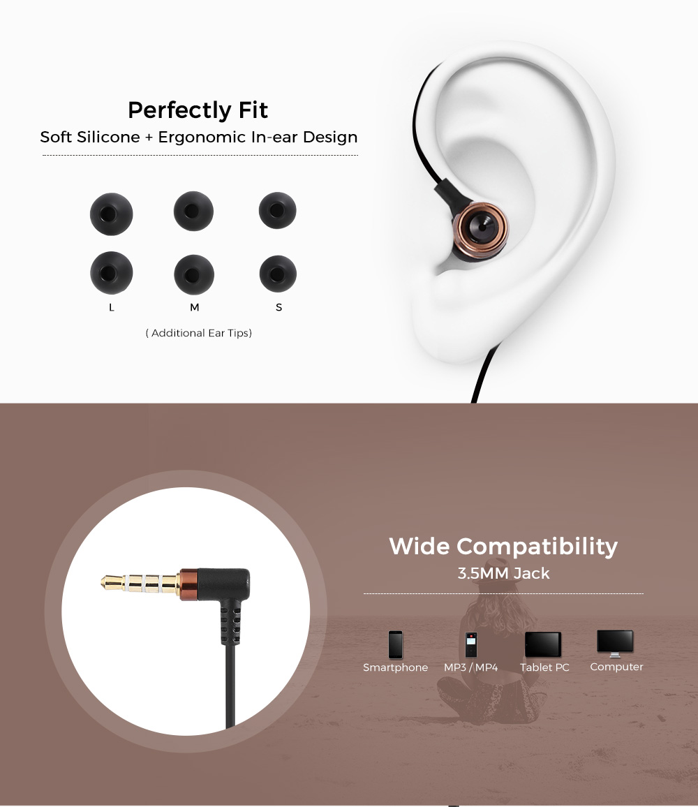 HIIBN HI400 3.5mm Rock Bass Stereo Sound Drive-by-Wire In-ear Music ...