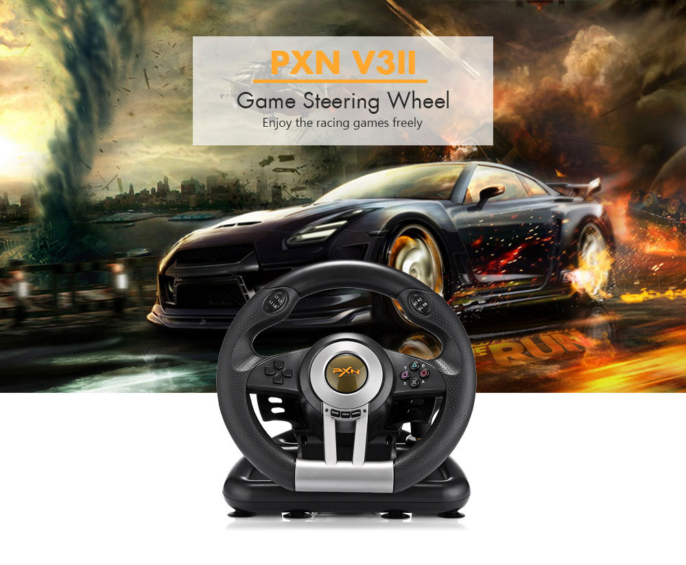 pxn v3ii course gaming volant double moteur vibration avec p dale de frein ebay. Black Bedroom Furniture Sets. Home Design Ideas