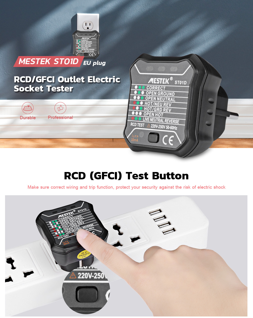 Mestek Rcd Gfci Automatic Electric Uk Eu Plug 220v 250v Power Wiring An Electrical Socket 20180815101324 20358