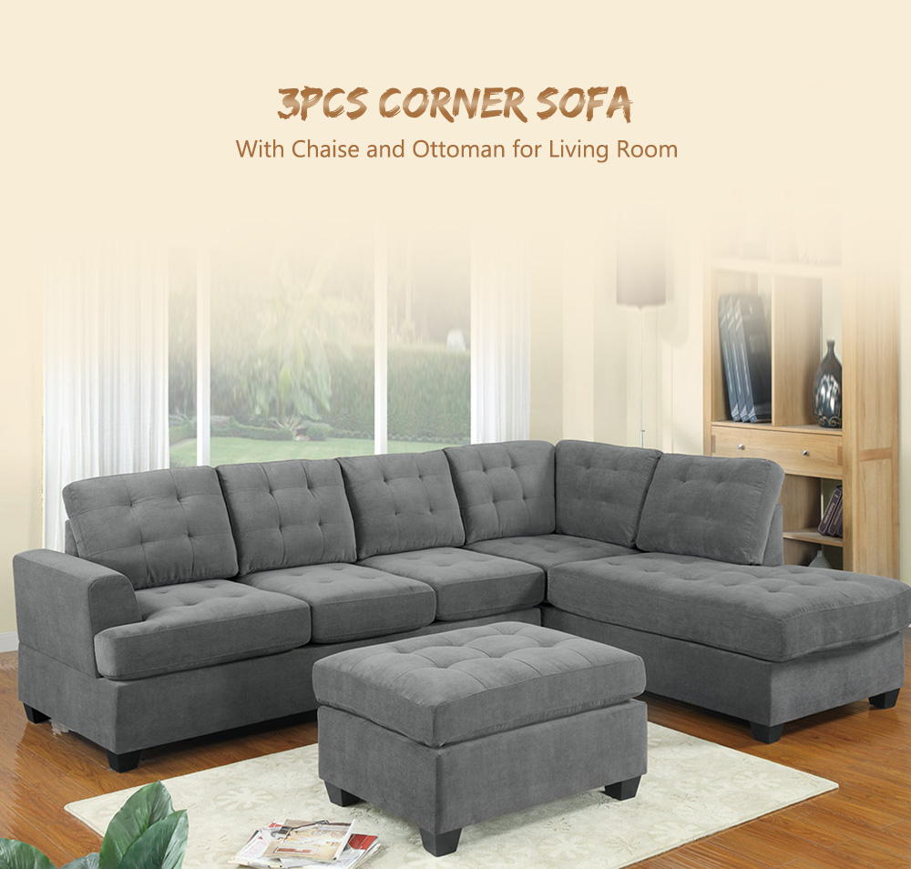 Details about Modern L-Shaped Corner Sofa With Chaise And Ottoman Sectional  Couch Living Room