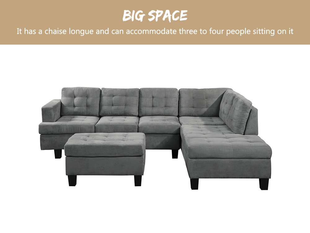 Details about 3pcs L-shaped Corner Sofa Sectional Sofa Chaise Lounge  Ottoman Padded Cushions