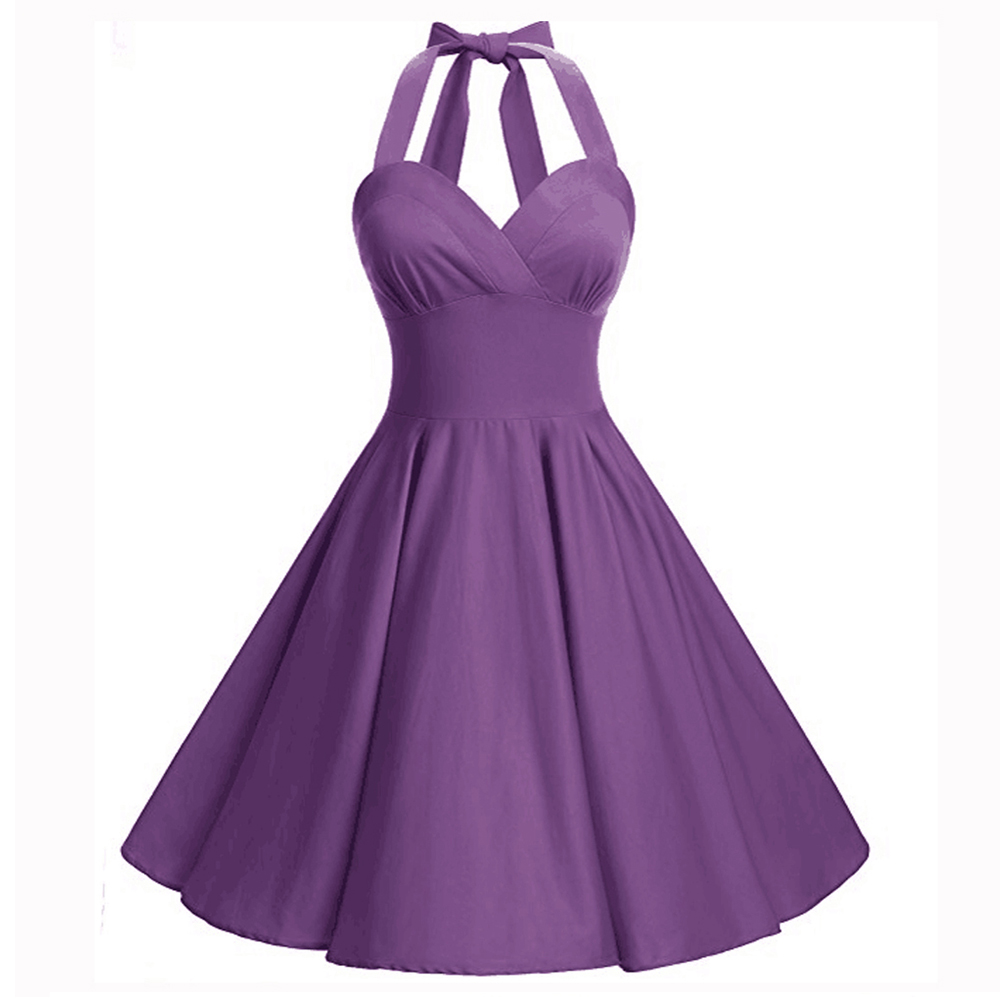 bafc08ce635 Women Vintage Halter Rockabilly 50s Swing Evening Party Pin Up Dress ...