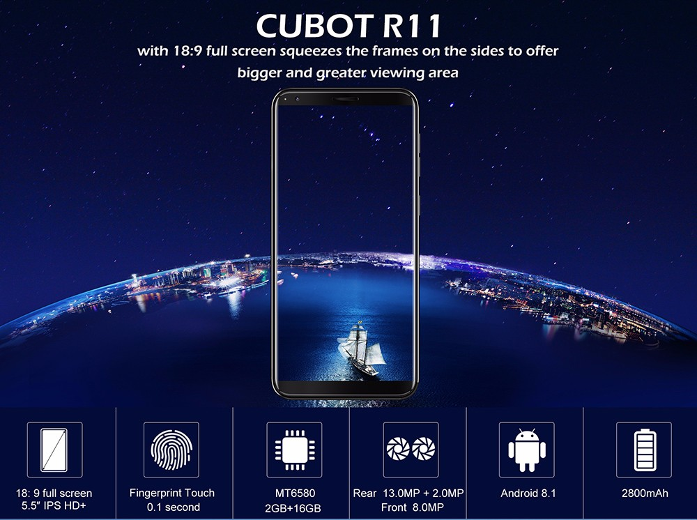 Details about Cubot R11/R9 3G Mobile Phone Android MT6580 Quad-Core  2GB+16GB Dual SIM Unlocked