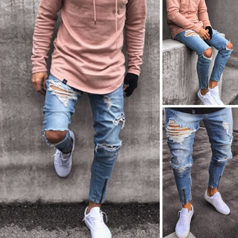 6d24e6e9d Fashion Men Ripped Denim Skinny Jeans Destroyed Straight Biker Holes ...
